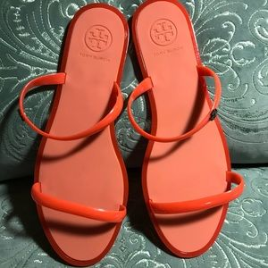 New orange Tory Burch jelly sandals size 9